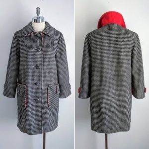 vintage 60's houndstooth wool button front peacoat